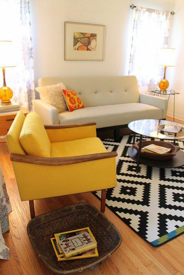 wohnzimmer möbel modern trendy gelb sessel