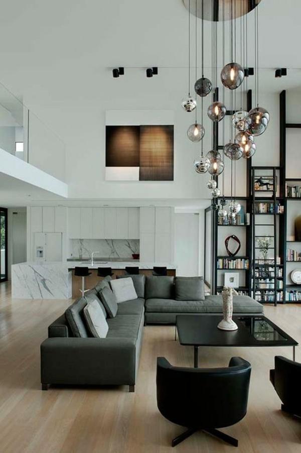 wohnzimmer möbel modern trendy hängelampen