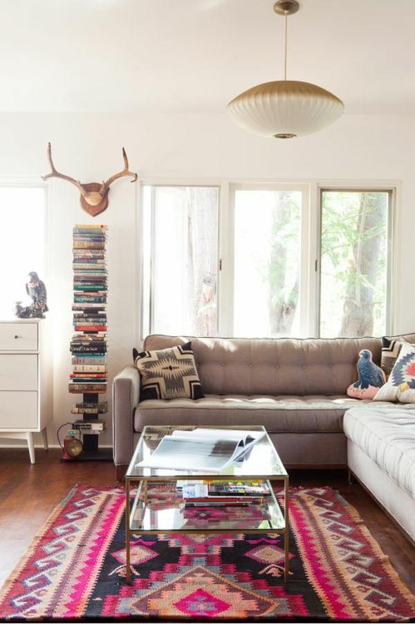 einrichtungsideen wohnzimmer möbel modern trendy perserteppich