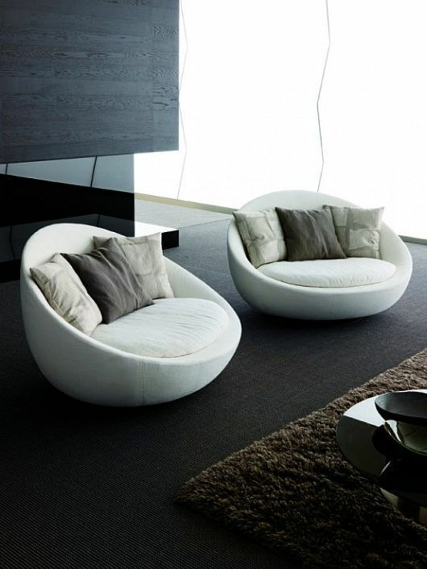 polsterung wohnzimmer möbel modern trendy sessel weiß