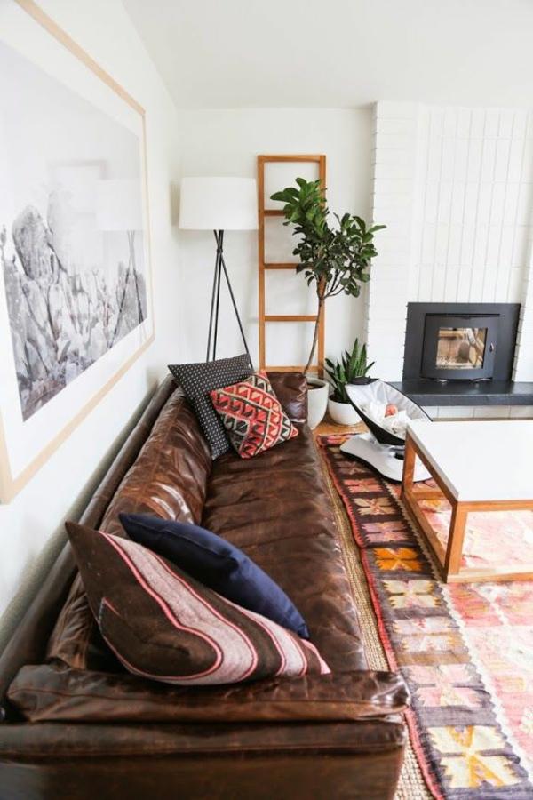 einrichtungsideen wohnzimmer möbel modern trendy sofa braun