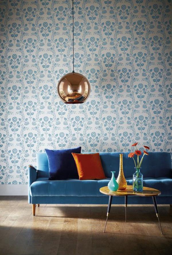wohnzimmer möbel modern trendy tapeten