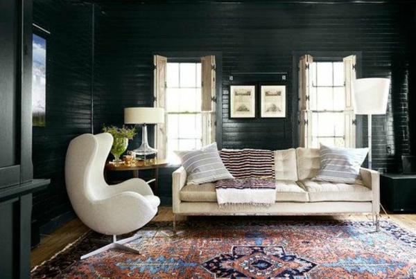 einrichtungsideen fenster möbel modern trendy teppich muster