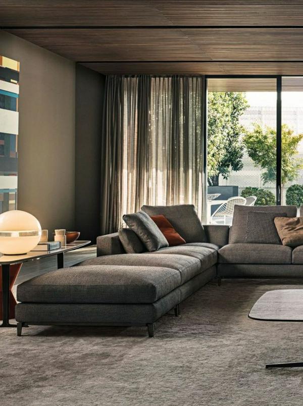 holz decke wohnzimmer möbel modern trendy warm ambiente