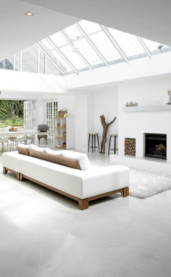 tageslicht wohnzimmer möbel modern weiß glas