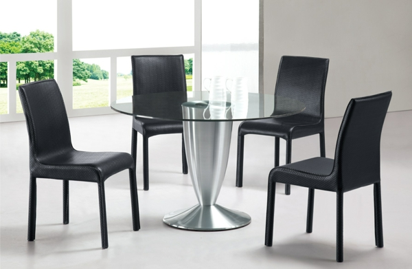 esszimmer gestalten polsterstühle schwarz esszimmertische mit stühlen esstisch rund glas