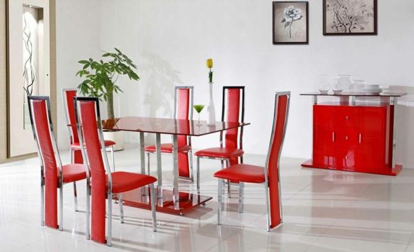 esszimmertische mit stühlen esstisch glas rot kommode esszimmer