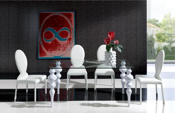 esszimmertisch mit stühlen esstisch glasscheibe polsterstühle weiß