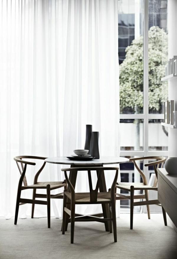 esszimmertisch mit stühlen gardinen ideen weiß leicht moderne vorhänge