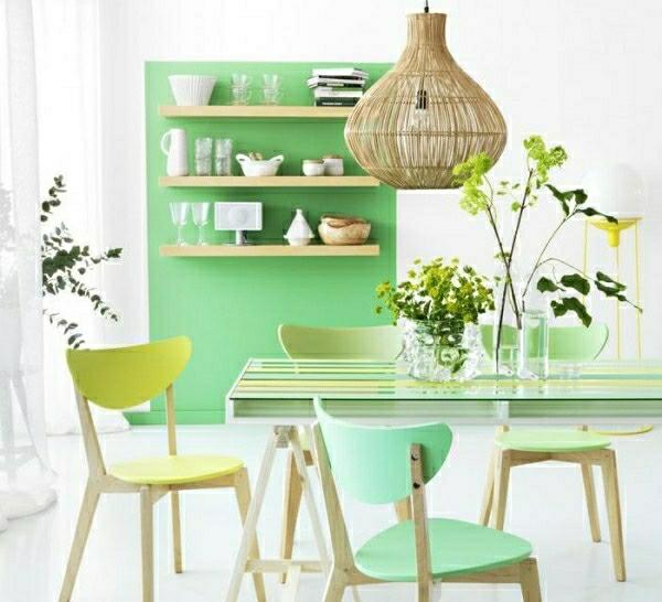 farbgestaltung ideen frische pastellfarben mintgrün wandfarbe grün