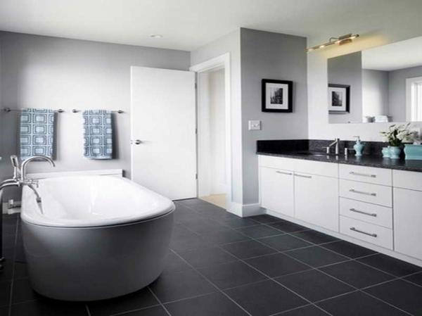 farbideen grau weiß wandfarbe badezimmer bodenfliesen