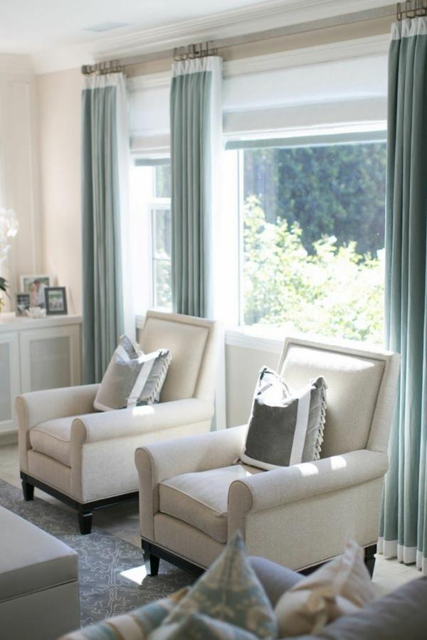 fertiggardinen gardinen ideen moderne vorhänge hellblau gardinenschiene metall