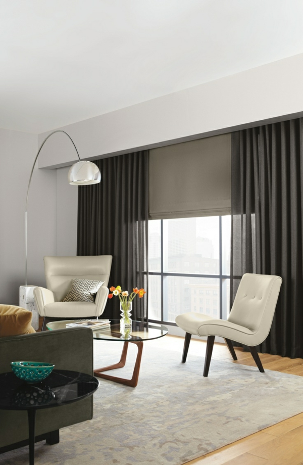 fertiggardinen schwarz gardinen ideen moderne vorhänge moderne stadtwohnung