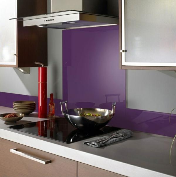 fliesenspiegel küche glas küchenrückwand spritzschutz küche glaswand lila