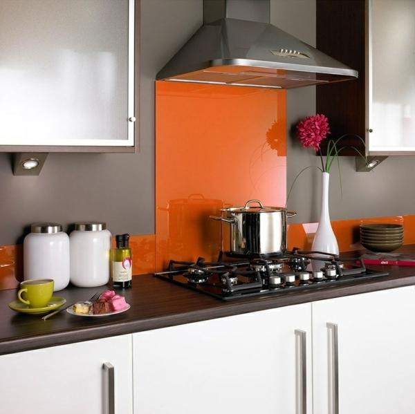 fliesenspiegel küche glas küchenrückwand spritzschutz küche glaswand orange