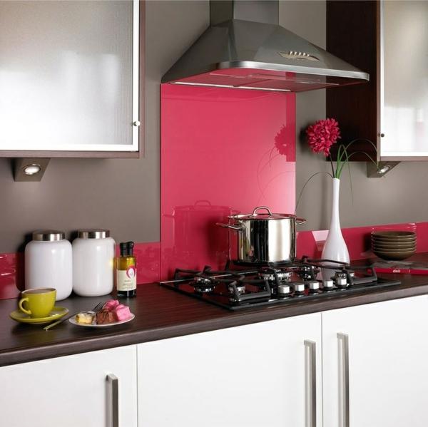 fliesenspiegel kche glas kchenrckwand spritzschutz kche glaswand pink - Kuchen Spritzschutz Glas