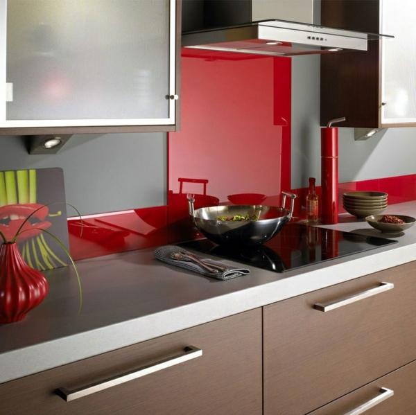 fliesenspiegel küche glas küchenrückwand spritzschutz küche glaswand rot