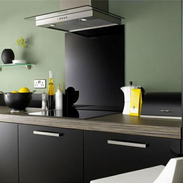 fliesenspiegel küche glas küchenrückwand spritzschutz küche glaswand schwarz wandfarbe grün