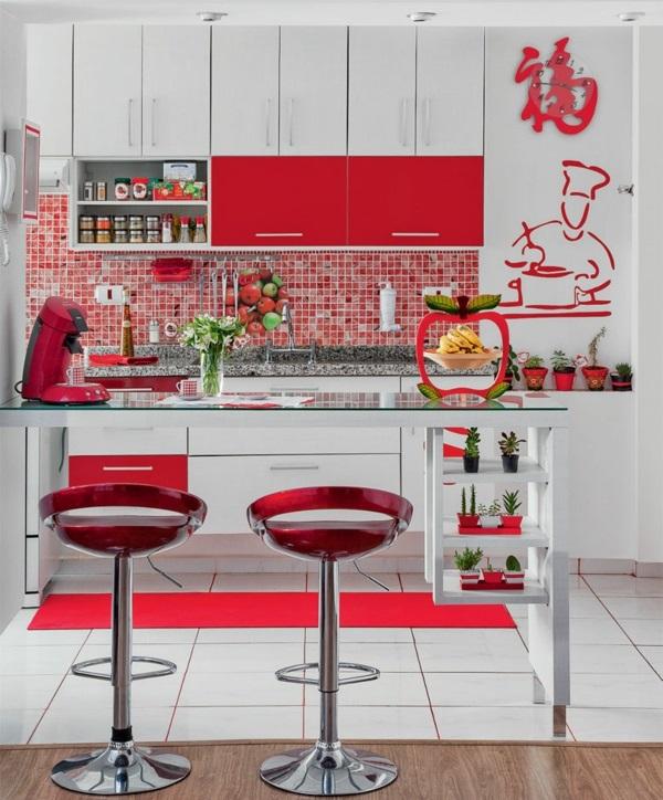 fliesenspiegel küche küchenfliesen wand rot küchenfronten
