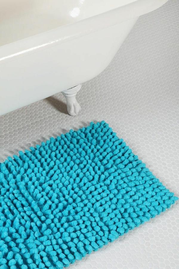 freistehende badewanne badmatten kuschelweich badeteppiche badvorlegerblau