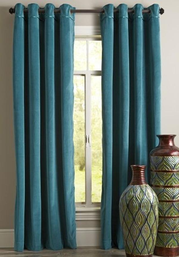 gardine blickdicht türkis vorhänge farbideen gardinenstoffe