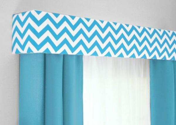 gardinen ideen fertiggardinen chevron muster moderne vorhänge blau
