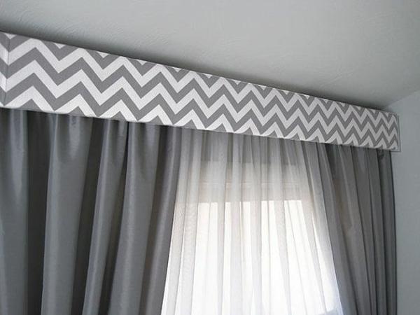 gardinen ideen fertiggardinen chevron muster moderne vorhänge grau
