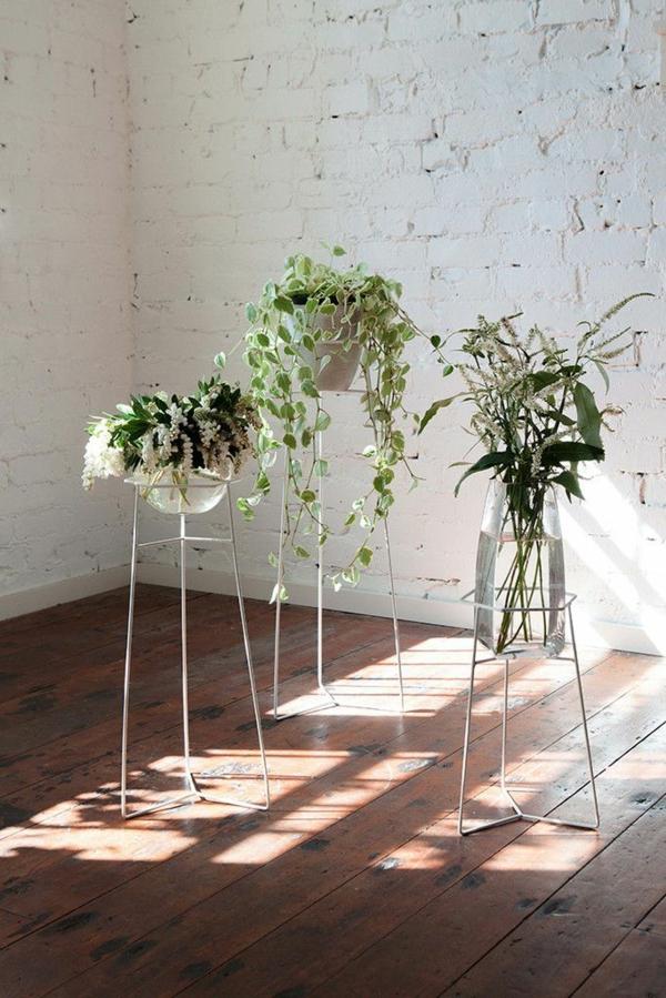 gartenideen herbst garten topfpflanzen zimmerpflanzen pflanzenständer gestell