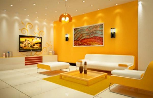 gelb wandfarbe ideen wandgestaltung wohnzimmer farbgestaltung