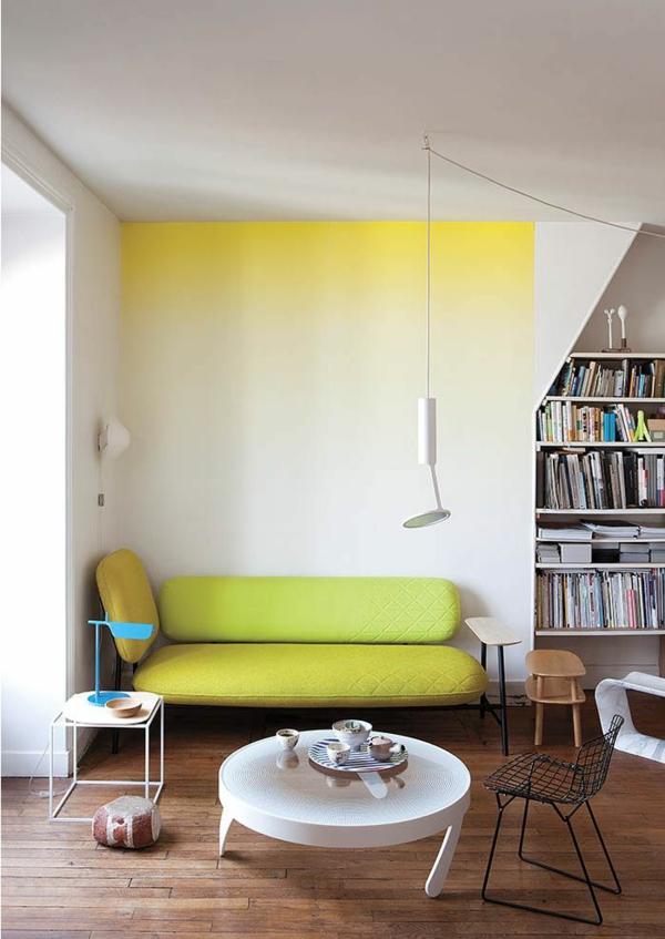 eine gelbe tapete im schlaf- oder wohnzimmer wirkt sehr erfrischend, Wohnzimmer dekoo