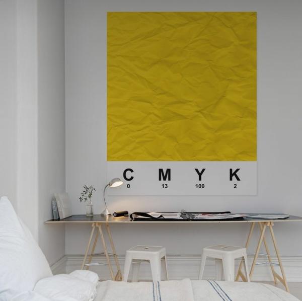 Arbeitszimmer wandgestaltung  Eine gelbe Tapete im Schlaf- oder Wohnzimmer wirkt sehr erfrischend