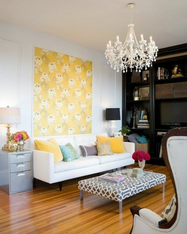 Gelbe Tapete Mustertapeten Blumenmuster Wohnzimmer Wandgestaltung Ideen