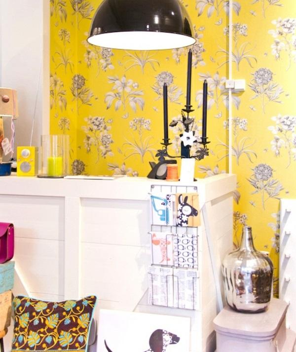 Gelbe Tepeten Mustertapeten Wohnzimmer Wandgestaltung Ideen