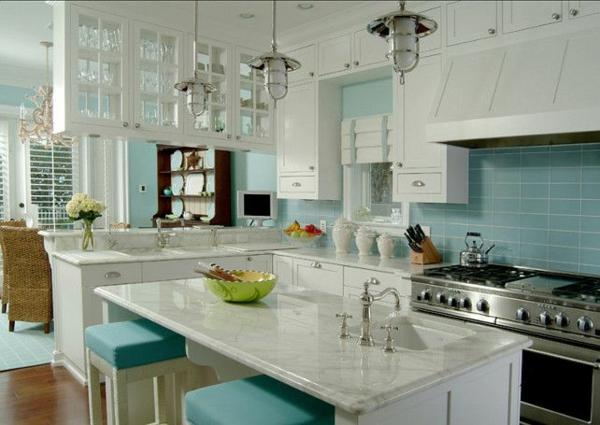 glas küchenrückwand fliesenspiegel glas blau kücheninsel marmor arbeitsplatte
