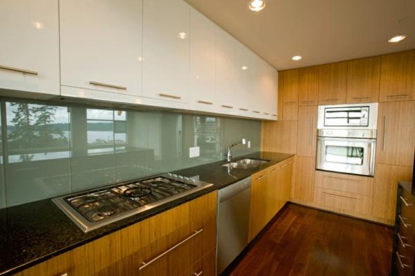 glas küchenrückwand fliesenspiegel glas holzküche