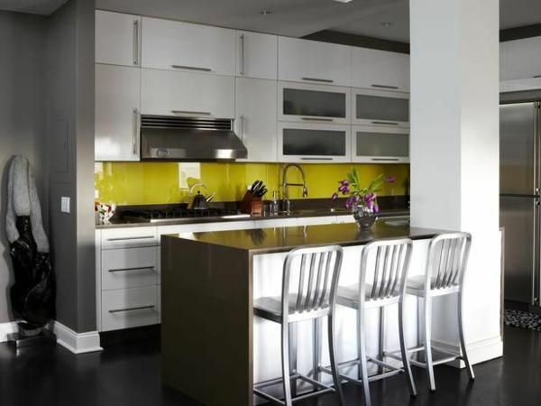 glas küchenrückwand glaswand küche grün akzentwand spritzschutz küche