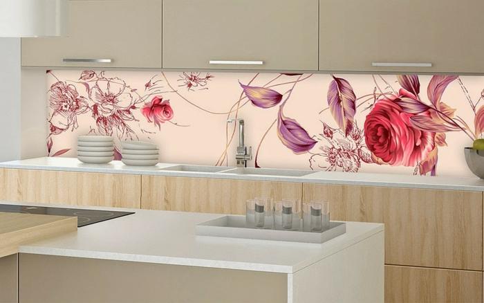 glasrückwand küche feminine rosa rot