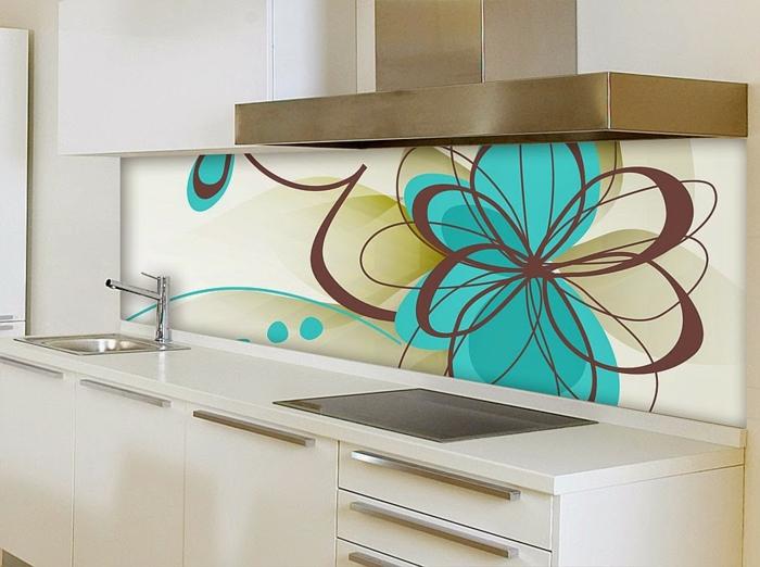 glasrückwand küche figuren blumen