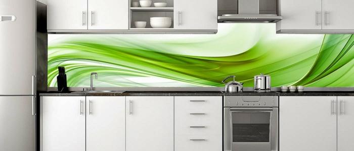 glasrückwand küche grün abstrakt formen