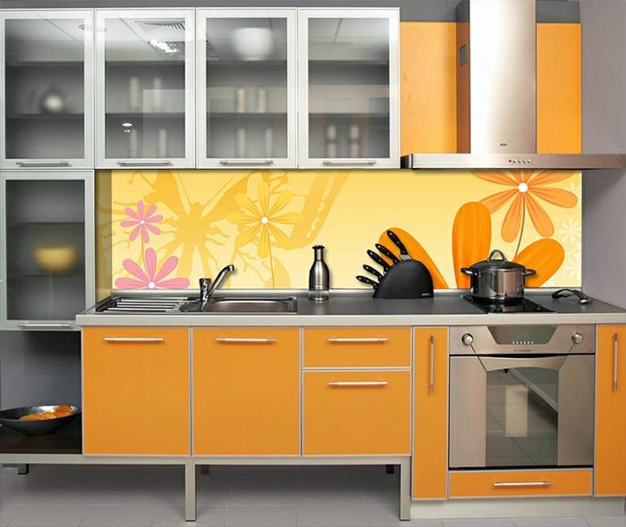 glasrückwand küche orange glas küchenschranktüren exotisch