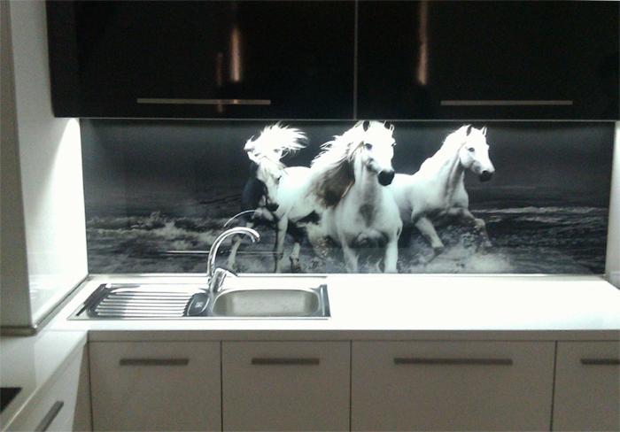 glasrückwand schwarz weiß küche pferde natur