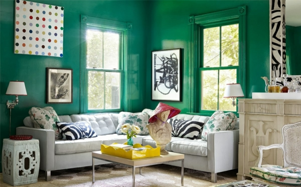 grün wandfarbe und dekoration