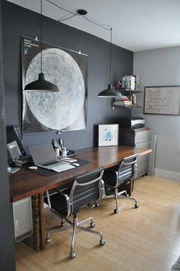 graue wandfarbe büroeinrichtung arbeitszimmer farbgestaltung ideen dunkelgrau