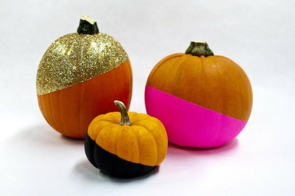 halloween deko basteln farbige kürbisse