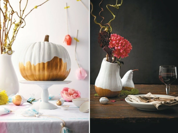 halloween deko basteln kürbis vase