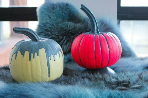 halloween deko basteln kürbisse bemalen