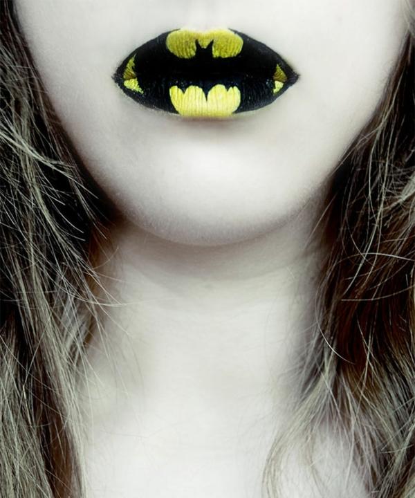 halloween lippen federmaus malen