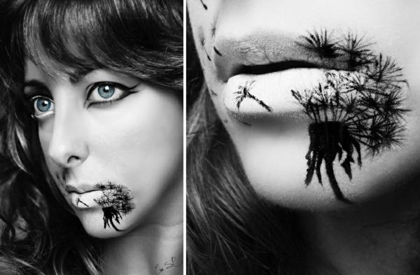 halloween lippen schminken schwarze abbildung