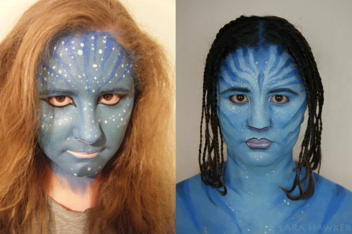 halloween schminken bodypaint und gesicht schminken avatar lara hawker