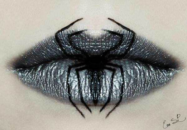 halloween schminke lippen silber